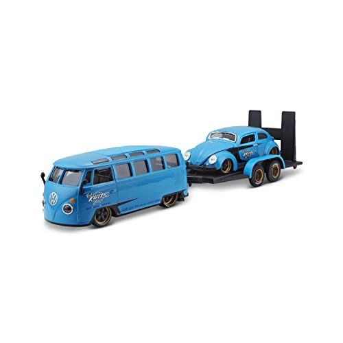 Maisto Design Elite Transporter Volkswagen Van Samba + Volkswagen Beetle: Modelltransporter mit...