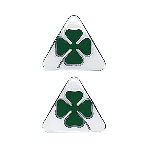 Alfa Romeo offizielle 3D Aufkleber, grüner vierblättriger Kleeblatt, rechts und links, 95 x 85 mm