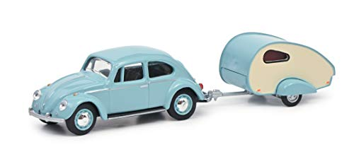 Schuco 452022500 VW Käfer mit Wohnanhänger, Wohnwagen ES Piccolo, Modellauto, Maßstab 1:64, türkis