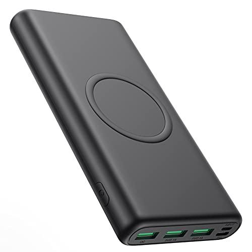 iPosible 15W Wireless Powerbank 33800mAh,【25W PD3.0 Type-C+USB QC4.0】 Schnelles Aufladen Externer...