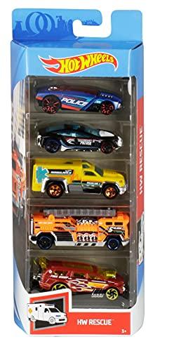 Hot Wheels 01806 5er Pack 1:64 Die-Cast Fahrzeuge Geschenkset, je 5 Spielzeugautos, zufällige Auswahl,...