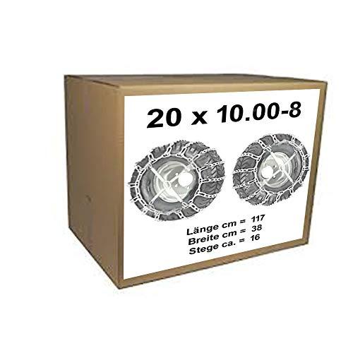 20x10.00-8 Schneeketten + Spanner für Rasentraktor Aufsitzmäher 20 x 10.00-8 und 20x10.00-10 20x10.00-8