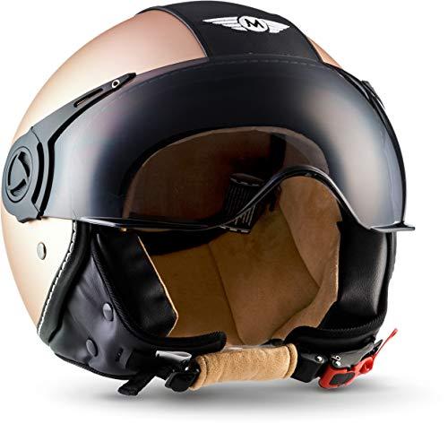 """Moto Helmets® H44 """"Vintage Bronze"""" · Jet-Helm · Motorrad-Helm Roller-Helm Scooter-Helm Bobber..."""