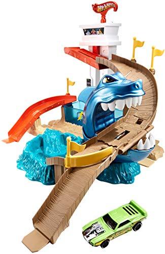 Hot Wheels BGK04 City Color Shifters Hai-Attacke Spielset, großes Spielset inkl. 1 Spielzeugauto und...