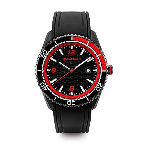 Audi 3102000200 Armbanduhr Sport Herren Uhr, schwarz/rot, Mittel