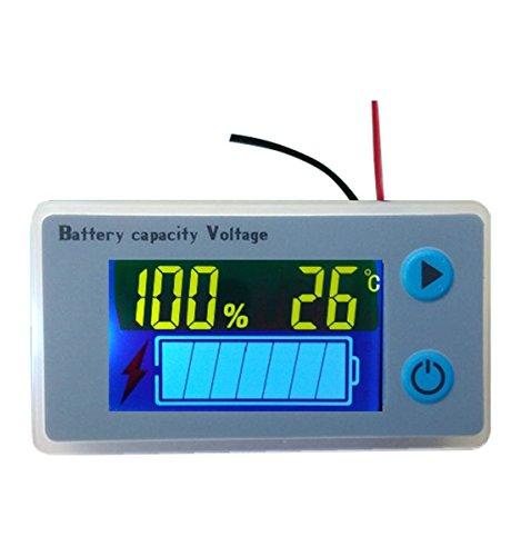 Multifunktionaler LCD-Leistungsmesser für Blei-Säure-Batterien, Spannungsmesser mit Temperaturanzeige,...
