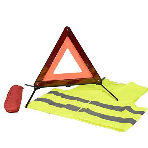 AYKRM Warndreieck Euro mit Aufbewahrungsbox, ECE Zertifiziert -Notfalldreieck- Sicherung von Unfall- und...