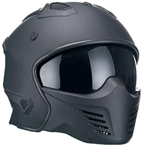 Motorradhelm Jethelm Helm RALLOX 726 matt schwarz mit ansteckbaren Kinnteil Größe XL