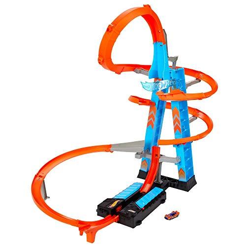 Hot Wheels GWT39 - Himmelscrash-Turm, 60cm hoch mit batteriebetriebenem Beschleuniger und orangem Track...
