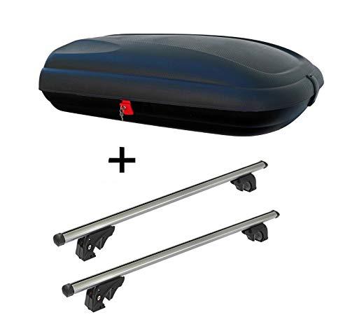 Dachbox VDPBA320 320Ltr carbonlook abschließbar + Dachträger VDPLION1 kompatibel mit Peugeot 2008 (5...