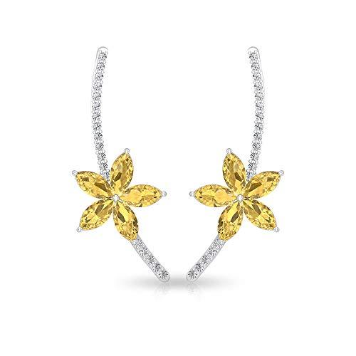 0,75 ct Birne Citrin IGI zertifizierter Diamant Knorpel Ohrring, Gelb November Geburtsstein Blume...
