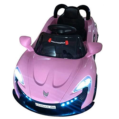 crooza Kinderauto mit 2X Motoren mp3 LED Elektro Kinder Elektroauto Elektrofahrzeug (rosa/pink)