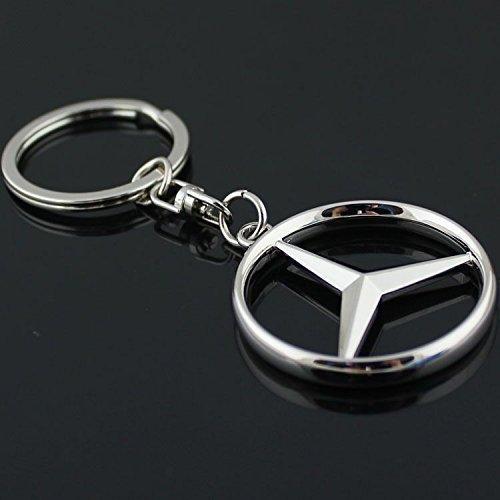 Mercedes Benz 3D Logo Schlüsselanhänger Edelstahl Chrom
