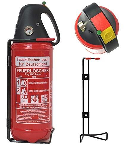 2kg Autofeuerlöscher Pulverlöscher Feuerlöscher, LKW PKW KFZ DIN EN 3 Manometer Halterung ABC 4LE...
