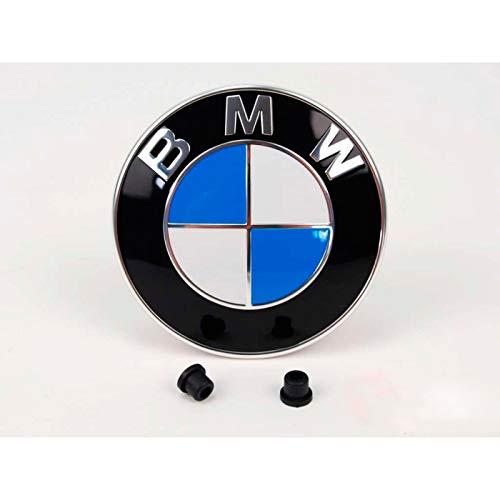 Emblem für die Motorhaube oder Hecklappe 82mm Weiß Blau mit 2 Tüllen für befestigung E32 E34 E36 E38...
