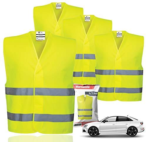 4X Warnwesten EN471 Pannenweste 2021 Unfallweste Pkw Sicherheitsweste Weste Neongelb reflektierend Auto,...