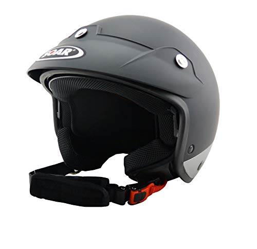 Soar Motorradhelm LEV Sprint Black Silver Matt, Größe L (59-60 cm), mit integriertem Sonnenvisier!