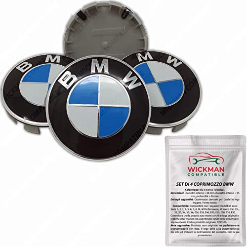 Satz von 4 Radnabenabdeckung kompatibel BMW - Blau und Weiß, Classic, 68 mm Durchmesser - von Wickman...