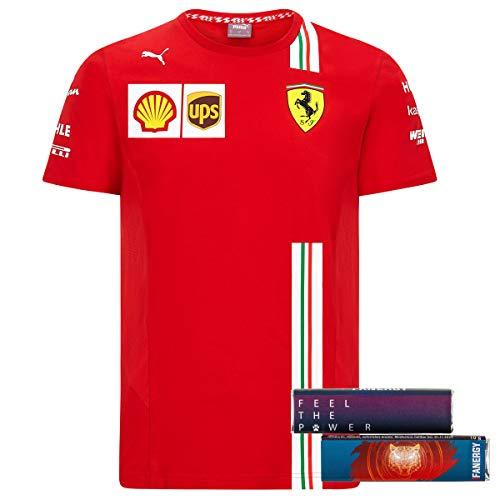 Scuderia Ferrari Team T-Shirt 2020 Formel 1 Shirt Oberteil Kurzarm rot + 4X FANERGY Traubenzucker (XL)