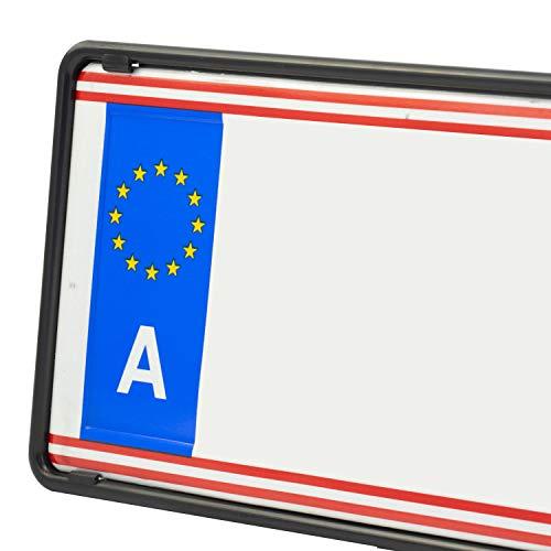 Eurosnap Auto Kennzeichenhalter Schwarz 2er Set Inklusive Montageanleitung - für Österreich - Dezenter...