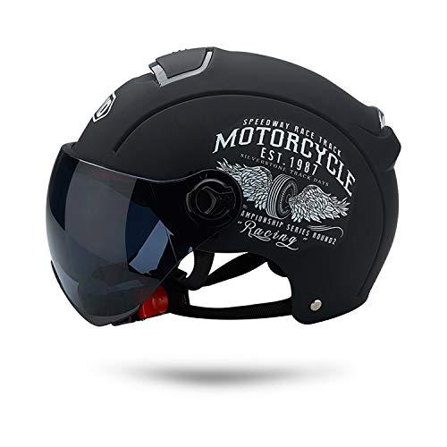 Galatée Erwachsenen Harley Motorradhelm Scooter-Helm, Mode halboffener Helm mit Schutzbrille,Der...