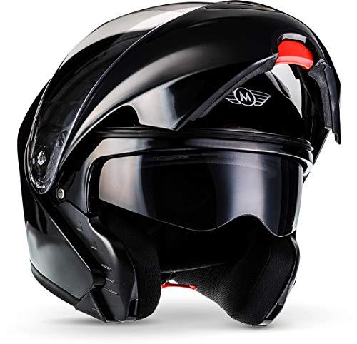 "MOTOHelmets® F19 ""Gloss Black"" · Motorrad-Helm · Klapp-Helm Modular-Helm Flip-up Integral-Helm..."