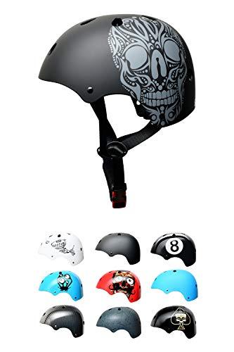 Skullcap BMX Helm - Skaterhelm - Fahrradhelm Totenkopf - Herren Damen Jungs & Kinderhelm,schwarz matt,...