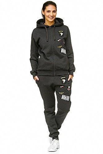 Violento Damen Jogging-Anzug | USA-Patches 685 (M, Anthrazit)