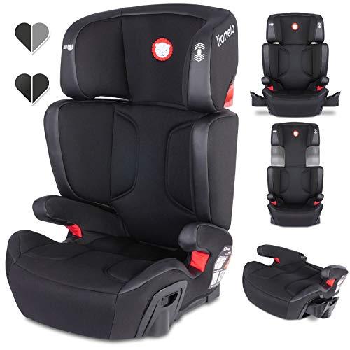 Lionelo Hugo Kindersitz mit ISOFIX, Autositz Gruppe 2-3 (15-36 kg), Sitzerhöhung, ECE R44/04 (Schwarz)