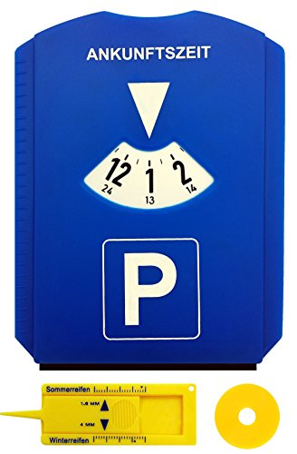 M&H-24 Parkscheibe Auto - mit Einkaufswagenchip und Reifenprofilmesser - Parkuhr mit Eiskratzer aus...