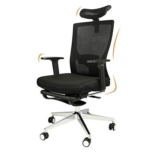 Ergonomischer Bürostuhl, 180° Rückenneigung Schreibtischstuhl mit Fußstützen, Drehstuhl mit...