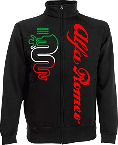 Generico Herren Sweatshirt Alfa Romeo World Rally Team Car STI Tuner Jacket, Schwarz Large