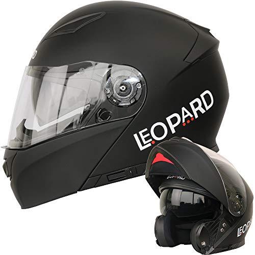 Leopard LEO-888 Klapphelm Integralhelm mit Doppelvisier #1 Mattschwarz XXL (63-64cm) Motorradhelm Damen...