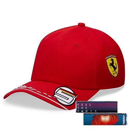 Scuderia Ferrari Sebastian Vettel Cap 2020 Formel 1 Kappe Baseballmütze Kopfbedeckung rot + 4X FANERGY...