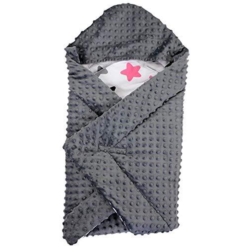 TupTam Baby Winter Einschlagdecke für Babyschale Wattiert, Farbe: Sterne Rosa/Schwarz, Größe: ca. 75 x...