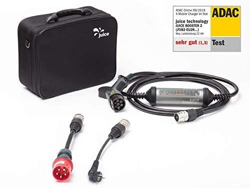 Juice Booster 2 Elektroauto Ladestation 22kW / 11kW Wallbox inkl. Adapter CEE32 und CEE 7/7 (Schuko) (EU)...