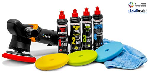detailmate Auto Politur Set: Liquid Elements T3000 V2 Exzenter Poliermaschine, 900 Watt + Menzerna...