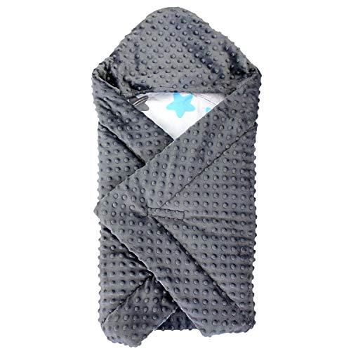 TupTam Baby Winter Einschlagdecke für Babyschale Wattiert, Farbe: Sterne Blau/Schwarz, Größe: ca. 75 x...