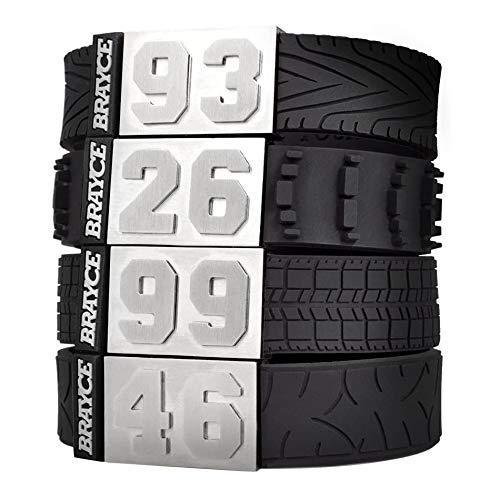 BRAYCE® Motorsport Armband im Reifen Style mit Deiner Nummer 00-99 I Autoreifen, Rennreifen,...
