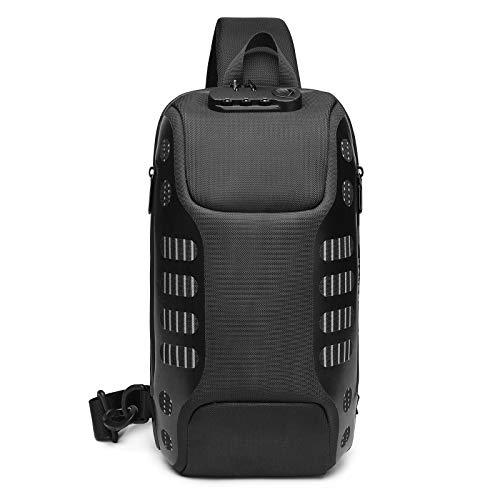 FANDARE Diebstahlsicherung Brusttasche Sling Rucksack Casual Daypacks mit USB für Herren Damen...
