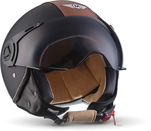 """Moto Helmets® H44 """"Vintage Black"""" · Jet-Helm · Motorrad-Helm Roller-Helm Scooter-Helm Bobber..."""