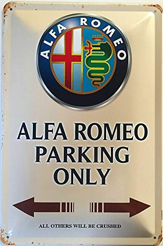 Deko7 Blechschild 30 x 20 cm Alfa Romeo Parking Only braun
