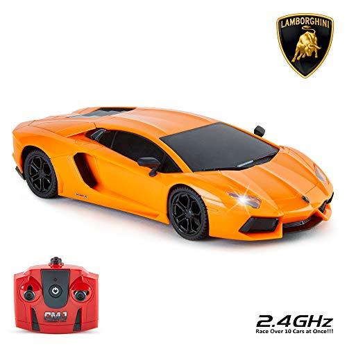 CMJ RC Lamborghini Aventador ferngesteuertes Auto für Kinder, Modell 1:24, 27 MHz, orangefarbener...