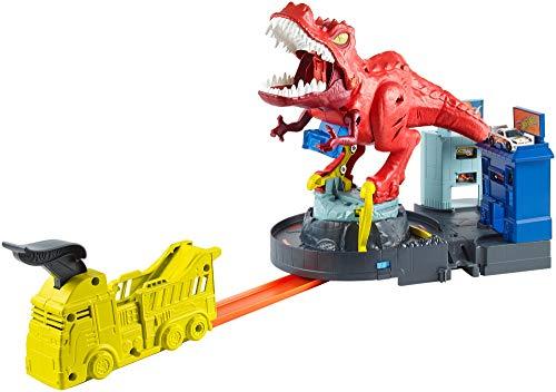 Hot Wheels GFH88 - City T-Rex Attacke Dinosaurier Trackset Spielset mit Auto, Spielzeug ab 5 Jahren