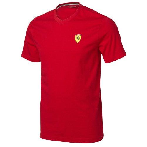FERRARI Herren T-Shirt Santander V-Neck Tee, Rot, XL