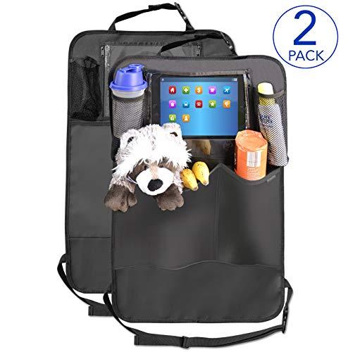 Premium Rückenlehnenschutz (2 Stück), Große Taschen und iPad-/Tablet-Fach, Auto Rücksitz-Organizer...
