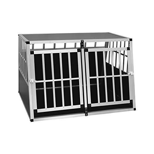 EUGAD Hundetransportbox Alu Doppel Hundebox Reisebox für große Hunde Husky Samojede Weimaraner Labrador...