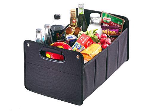 Kofferraumtasche aus Polyester mit stabilem Boden (schwarz - neutral) - Klappbox Kofferraumbox Faltbox...