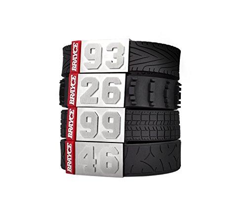BRAYCE Motorsport Armband im Reifen Style mit Deiner Nummer 00-99 I Autoreifen, Rennreifen,...