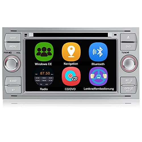 AWESAFE Autoradio mit Navi für Ford Focus, unterstützt Bluetooth Lenkradbedienung Mirrorlink CD DVD...